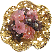 Vintage Boucher Molded Glass Pink and Purple Flower Pin #8245P
