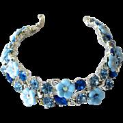 Vintage B.S.K. Blue Flower Bracelet