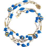 Vintage Castlecliff Faux Foil Glass Blue Bead Necklace