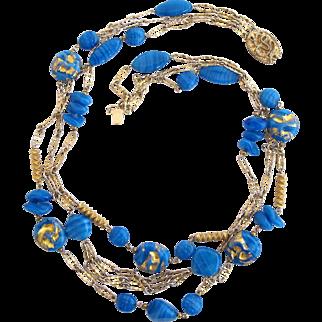 Vintage Castlecliff Faux Foil Glass Blue Bead Necklace