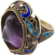 Chinese Export Huge Amethyst Silver Ring