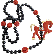Vintage Chinese Cinnabar Horse and Black Bead Necklace