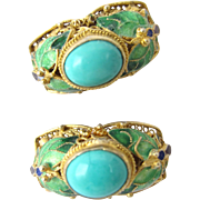 Vintage Chinese Export Silver Gilt Turquoise Enamel Earrings