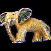 Vintage CINER Gold Tone Enamel Figural Elephant Pin