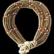 Ciner White Enamel Tiger Choker Necklace