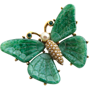 Vintage Ciner Faux Jade Butterfly Pin