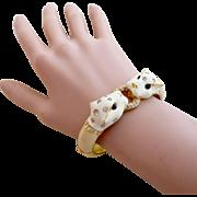 Vintage Ciner White Enamel Panther Cat Clamper Bracelet
