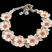 Vintage Lisner Pink Dogwood Flower Necklace