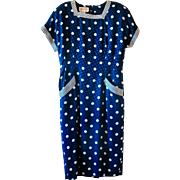 Vintage Julie Francis Navy Blue Polka Dot Silk Dress