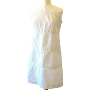 Vintage Fluttery White Waffle Daisy Dress