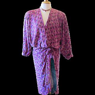 Vintage Norma Walters 1980's Silk Fuchsia Dress