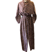 Vintage Brown Polka Dot Rayon Jumpsuit