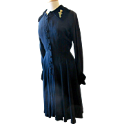 Vintage Ceil Chapman Black 1950's Dress with Velvet Trim