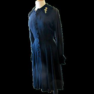 Vintage Ceil Chapman Black 1950's Dress with Velvet Trim