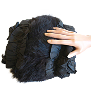 Antique Black Satin and Fur Women's Muff