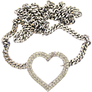 Vintage Silver Tone Rhinestone Heart Belt with Heavy Curb Chain