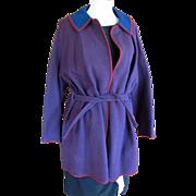 Vintage Women's Pendleton Wool Coat in Blue and Maroon Checks