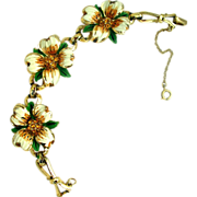 Coro Enamel Dogwood Flower Bracelet - Great Condition