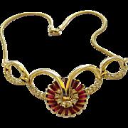 Corocraft Contessa Red Rhinestone Necklace - Book Piece