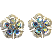 Coro Blue Aurora Borealis Clip Earrings