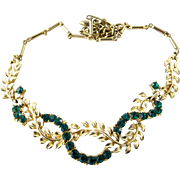 Coro Green Rhinestone and Gold Tone Leaf Choker Necklace - Near Mint