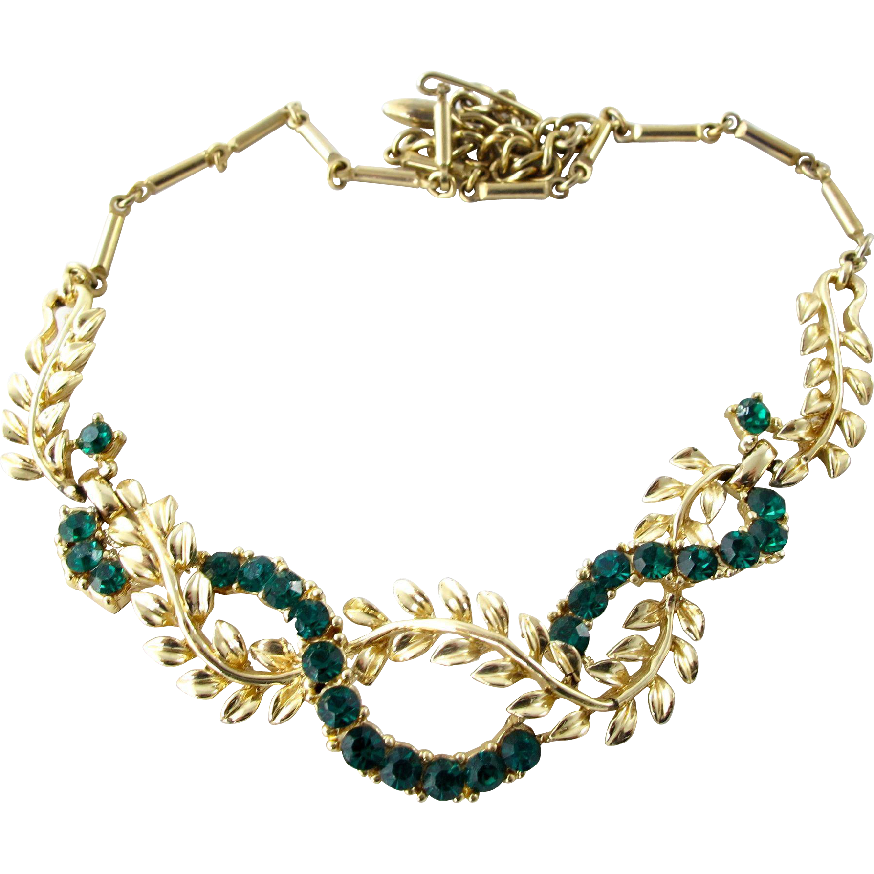 Coro green rhinestone and gold tone leaf choker necklace for Cheap gold jewelry near me