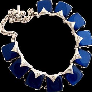 Vintage Mint Coro Navy Thermoset Choker Necklace