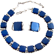 Vintage Coro Midnight Blue Thermoset Choker Necklace and Clip Earring Set