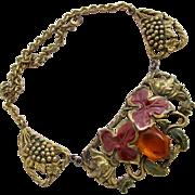 Vintage Rare Coro Grape Motif Brassy Tone Choker Necklace