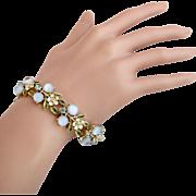 Vintage Coro Blue Cabochon and Enamel Flower Bracelet