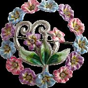 Vintage Coro Enamel Pastel Flower Circle Brooch