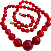 Vintage Cherry Red Faceted Crystal Bead Necklace