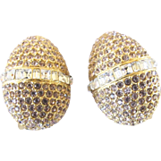 Vintage Heidi Daus for Jim Walters Rhinestone Egg Clip Earrings