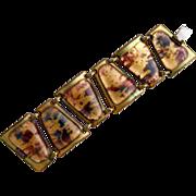 Vintage Kay Denning Bronze Colors Fused Glass Copper Bracelet