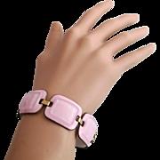Vintage Kay Denning Fused Glass Pink Bracelet
