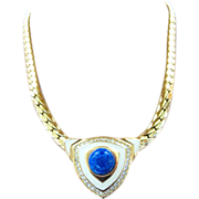 Christian Dior Blue Cabochon Choker Necklace