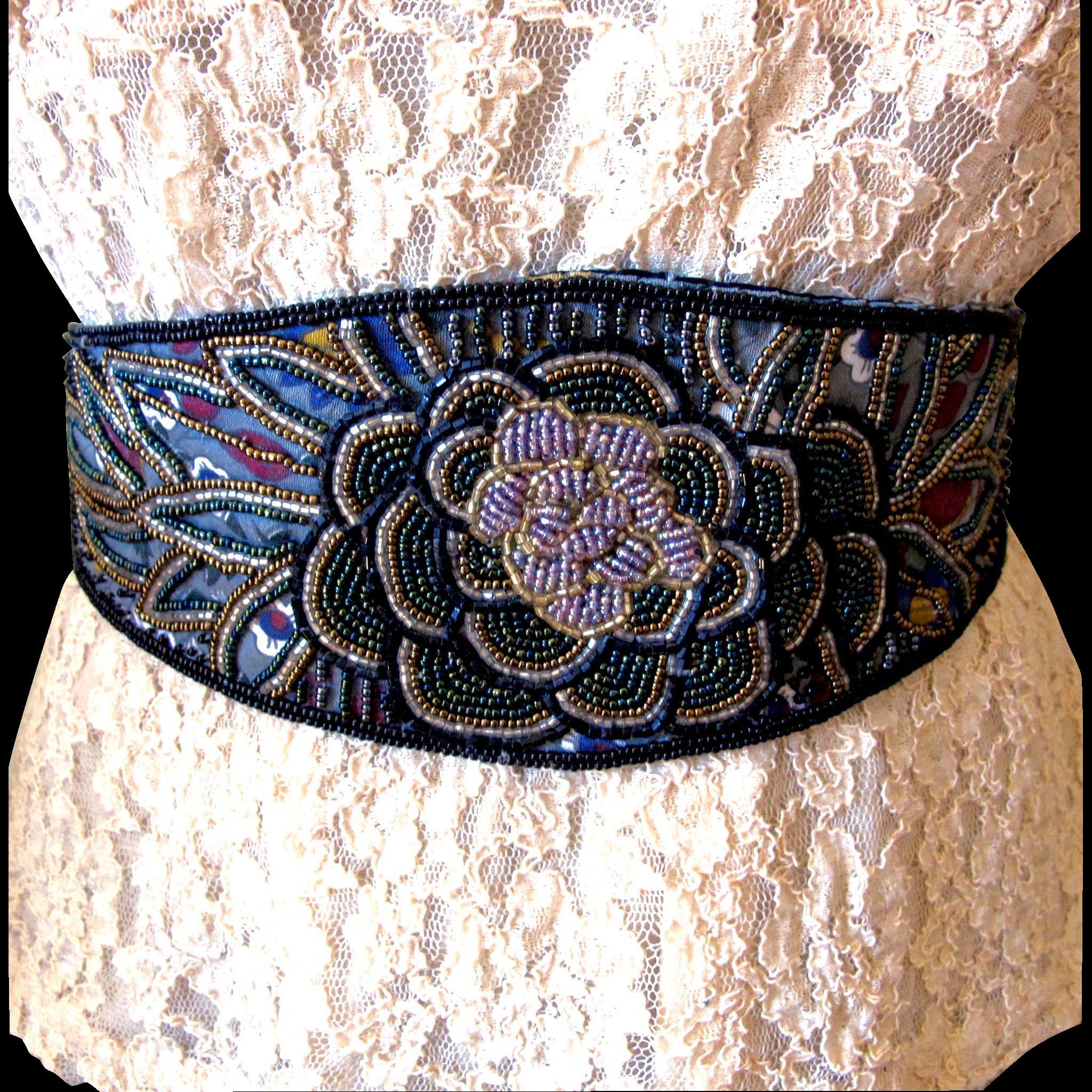 vintage beaded cumberbund sash belt size s from