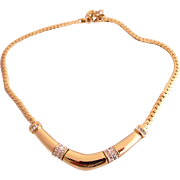 Vintage Dior Gold Tone Curved Rigid Center Choker Necklace