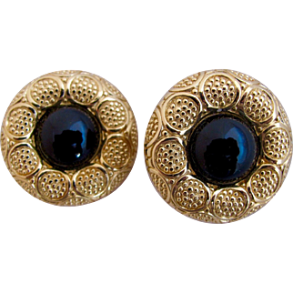 Vintage Christian Dior Round Gold Tone Clip Earrings
