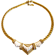 Vintage DIOR Gold Plated White Bar Design Choker Necklace