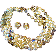 Vintage DeMario Pale Yellow Faux Pearl and Crystal 3 Strand Necklace and Earring Set