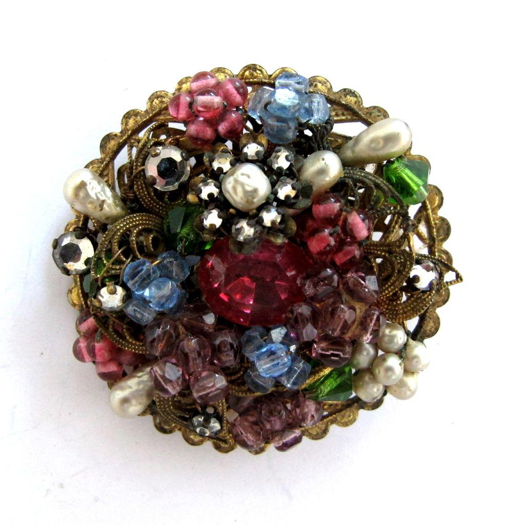 Vintage DeMario N.Y.C. Glass Bead and Faux Pearl Brooch