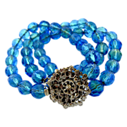 DeMario Blue Green Crystal Bead Bracelet