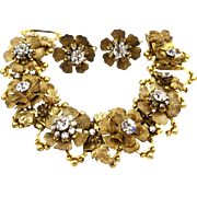 DeMario Gold Tone Flower Bracelet and Earring Set