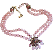 Vintage DeMario Pink Bead Choker Necklace