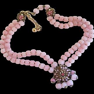 Vintage DeMario Pink Bead Choker Necklace