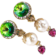 Simone Edouard Rivoli and Faux Pearl Clip Earrings