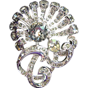 Eisenberg Sterling Clear Rhinestone Flower Brooch