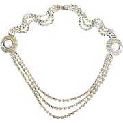Eisenberg Ice Clear Rhinestone and Faux Pearl Necklace