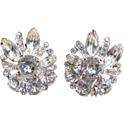 Eisenberg Clear Rhinestone Classic Clip Earrings